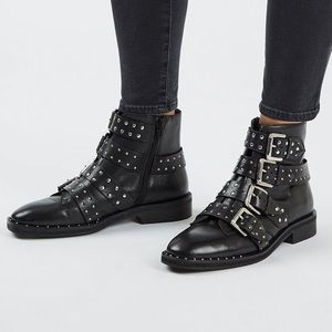 Topshop Krown Smooth Suede Leather Studded Boots
